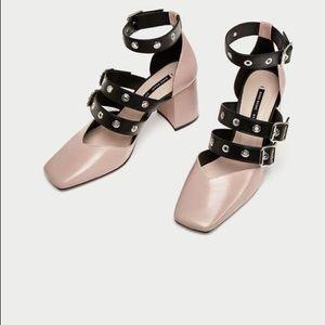 "NWT Zara pink ""ballerina"" heel with buckles"